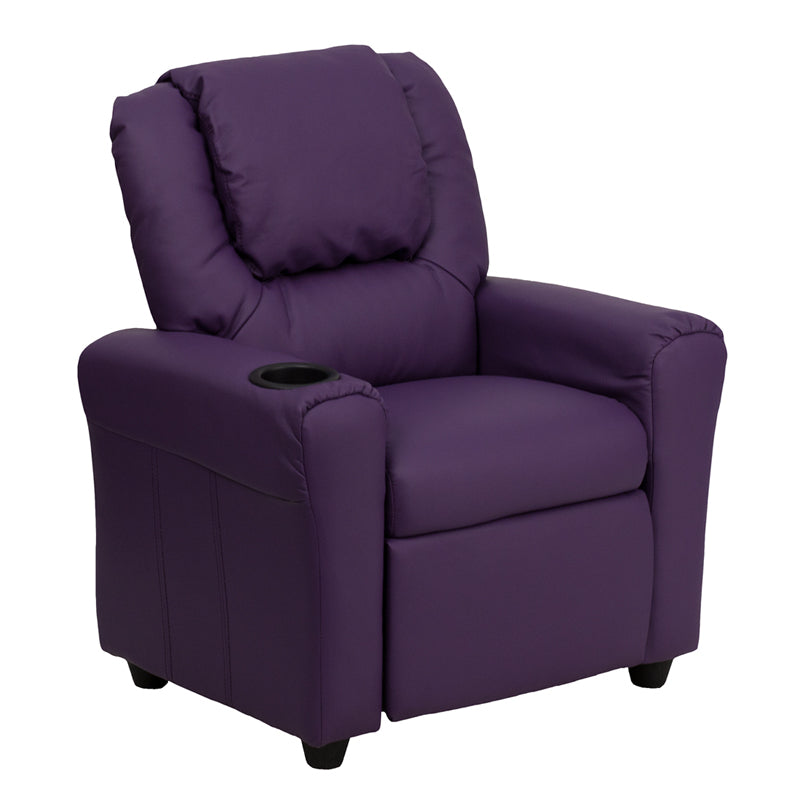 Flash Furniture   Contemporary Purple Vinyl Kids Recliner with Cup Holder and Headrest - Pot Racks Plus