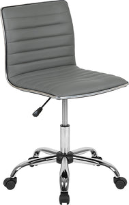 Low Back Designer Armless Light Gray Ribbed Swivel Task Office Chair