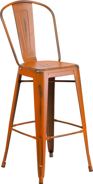 "Commercial Grade 30"" High Distressed Orange Metal Indoor-Outdoor Barstool with Back"