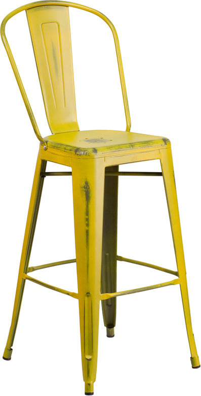 "Commercial Grade 30"" High Distressed Yellow Metal Indoor-Outdoor Barstool with Back"