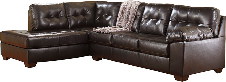 Signature Design by Ashley Alliston with Left Side Facing Chaise Sectional in Chocolate Faux Leather - Pot Racks Plus