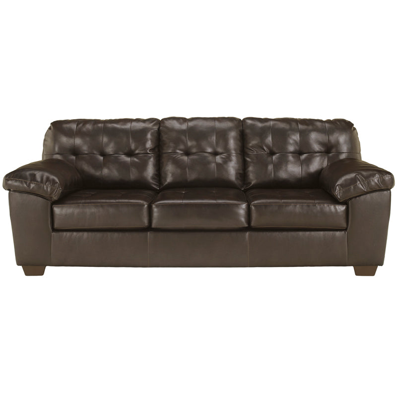 Signature Design by Ashley Alliston Sofa in Chocolate Faux Leather - Pot Racks Plus