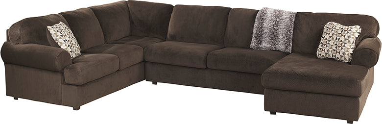 Signature Design by Ashley Jessa Place 3-Piece Left Side Facing Sofa Sectional in Chocolate Fabric - Pot Racks Plus