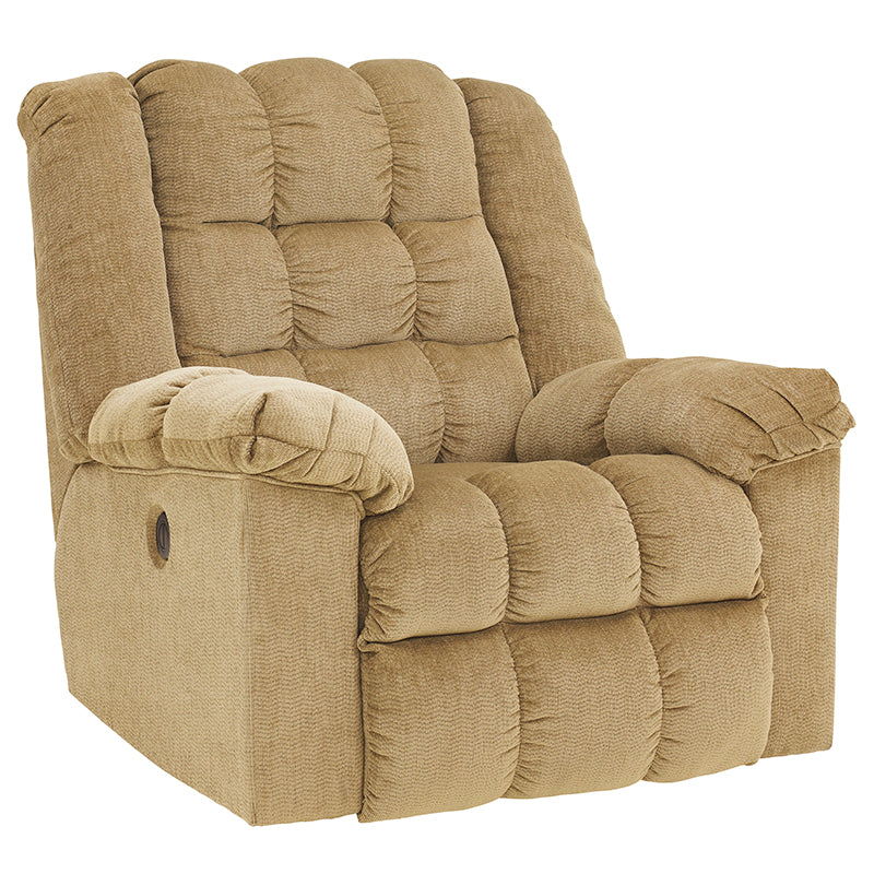 Signature Design by Ashley Ludden Power Rocker Recliner in Sand Twill - Pot Racks Plus