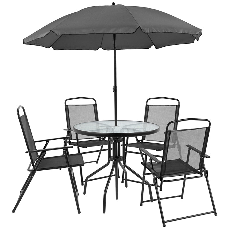 Flash Furniture Nantucket 6 Piece Black Patio Garden Set with Table, Umbrella and 4 Folding Chairs - Pot Racks Plus