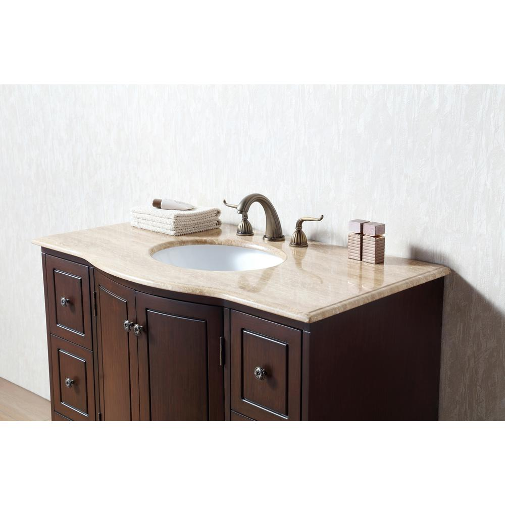 "40"" Grand Cheswick Single Sink Vanity With Travertine Marble Top - Pot Racks Plus"