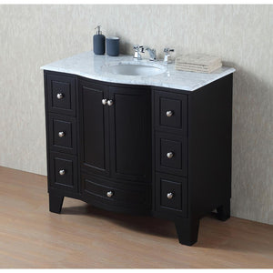 "40"" Grand Cheswick Espresso Single Sink Vanity With Carrara Marble Top - Pot Racks Plus"
