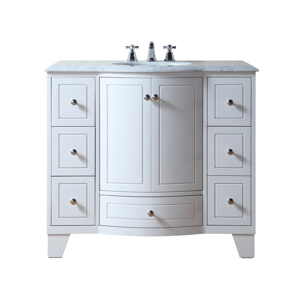 "40"" Grand Cheswick White Single Sink Vanity With Carrara Marble Top - Pot Racks Plus"
