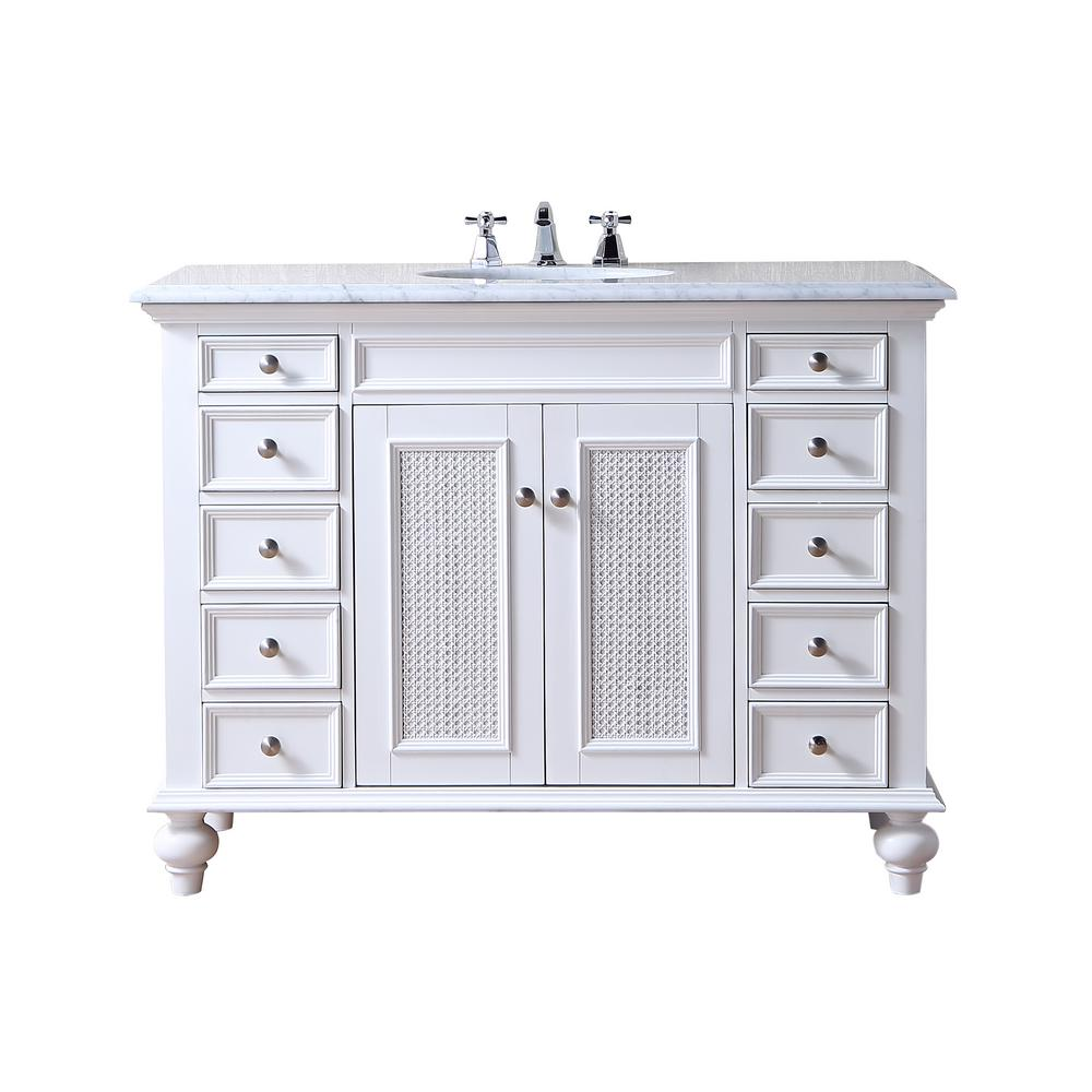 48 inch Rory White Single Sink Vanity with Carrara Marble Top - Pot Racks Plus