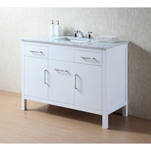 "Atreus 48"" White Single Sink Bathroom Vanity With Carrara Marble Top - Pot Racks Plus"