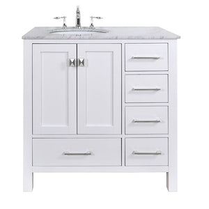 "36"" Malibu Pure White Single Sink Bathroom Vanity, Without Cabinet Or Mirror - Pot Racks Plus"