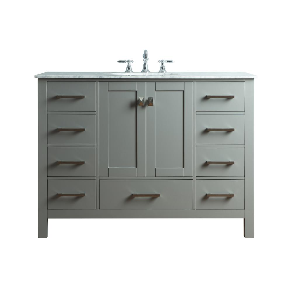 "48"" Malibu Gray Single Sink Bathroom Vanity, Gray, Without Cabinet Or Mirror - Pot Racks Plus"