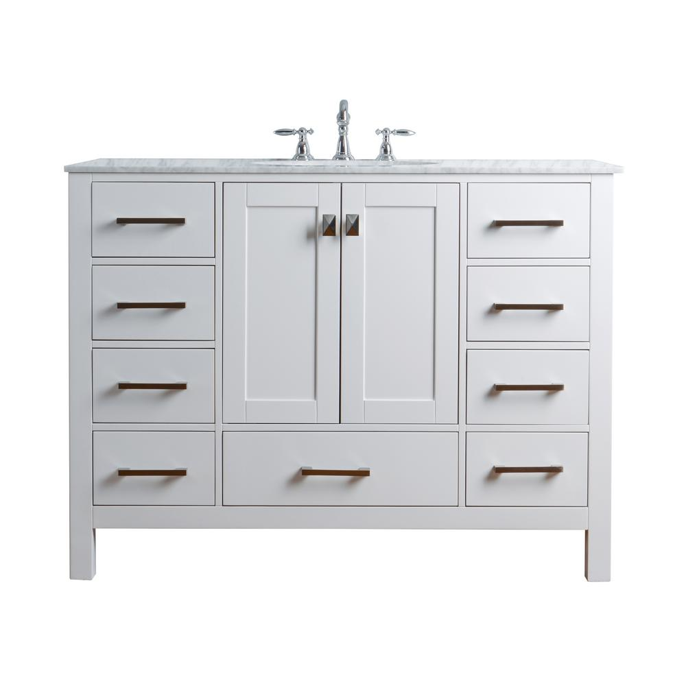 "48"" Malibu Gray Single Sink Bathroom Vanity, White, Without Cabinet or Mirror - Pot Racks Plus"