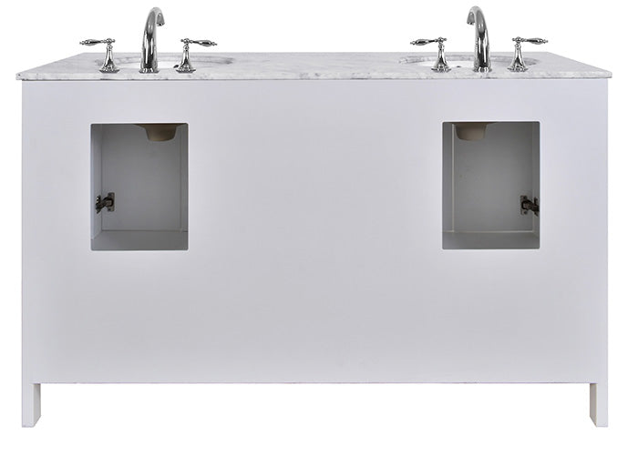 "60"" Malibu Espresso Double Sink Vanity, Pure White, Without Cabinet or Mirror - Pot Racks Plus"
