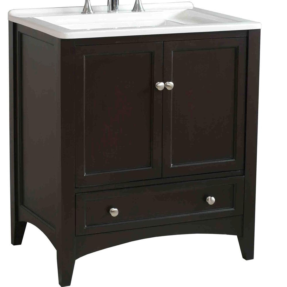 "30.5"" Espresso Laundry Single Sink Vanity - Pot Racks Plus"