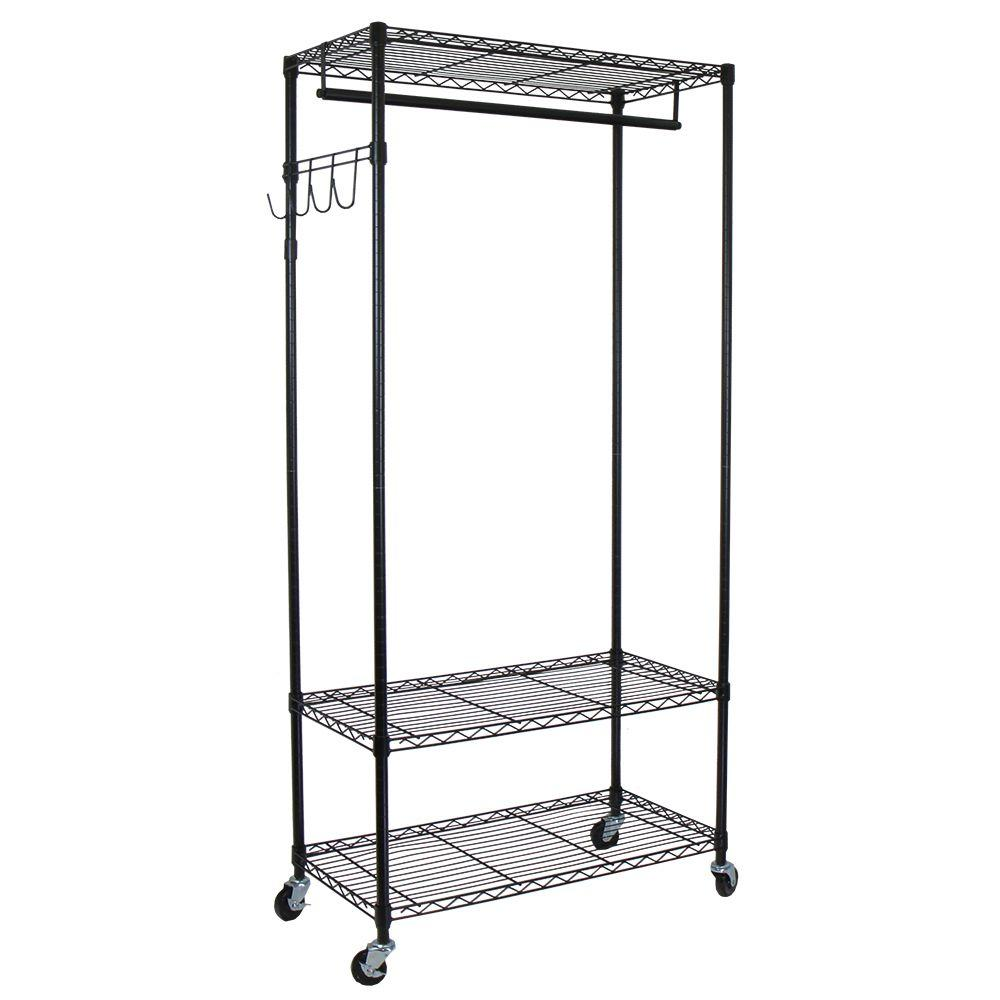 Garment Rack with Adjustable Shelves with Hooks, Black - Pot Racks Plus