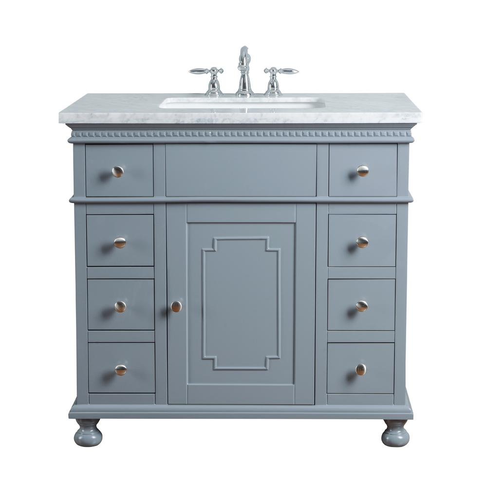 "Abigail Embellished 36"" Gray Single Sink Bathroom Vanity - Pot Racks Plus"