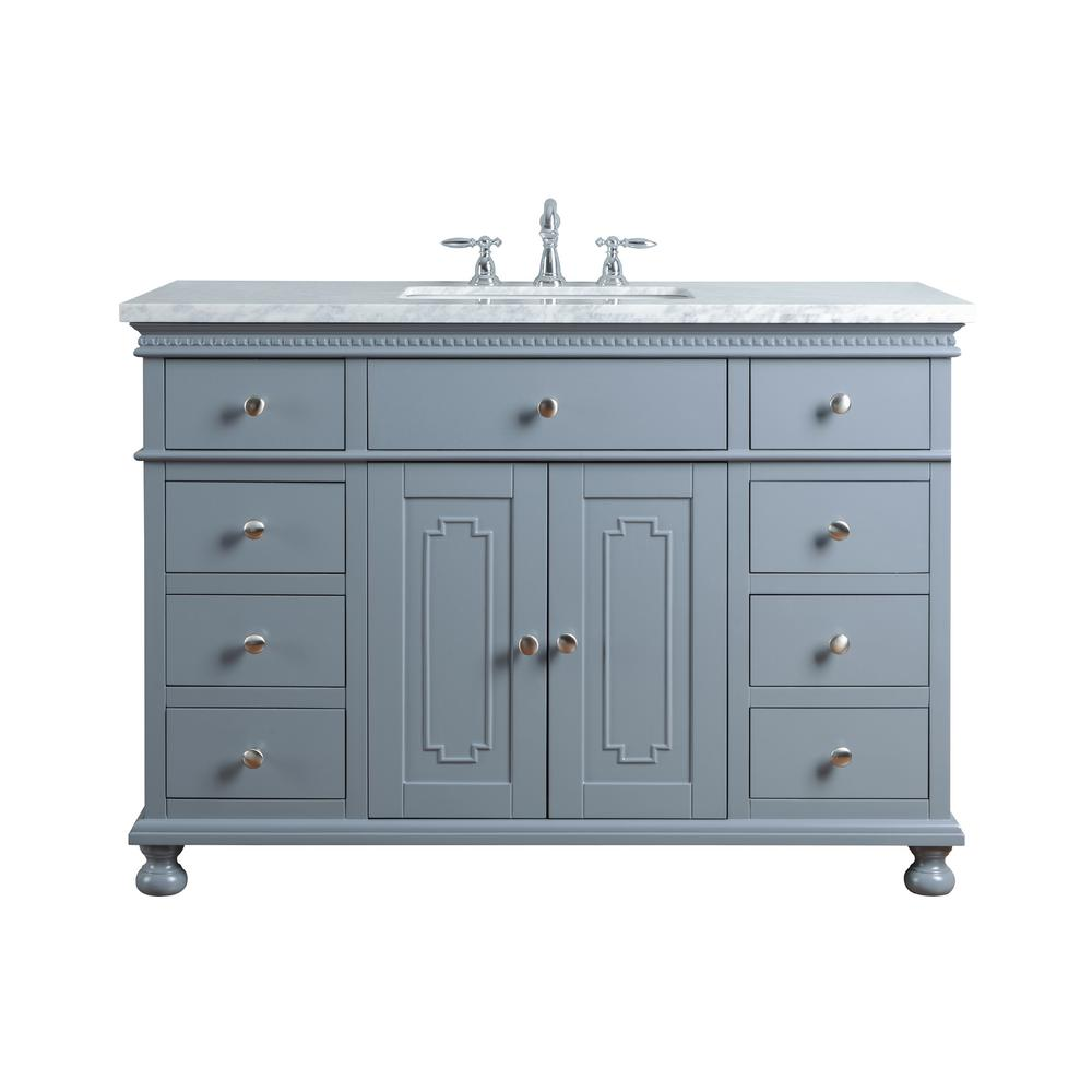 "Abigail Embellished 48"" Gray Single Sink Bathroom Vanity - Pot Racks Plus"