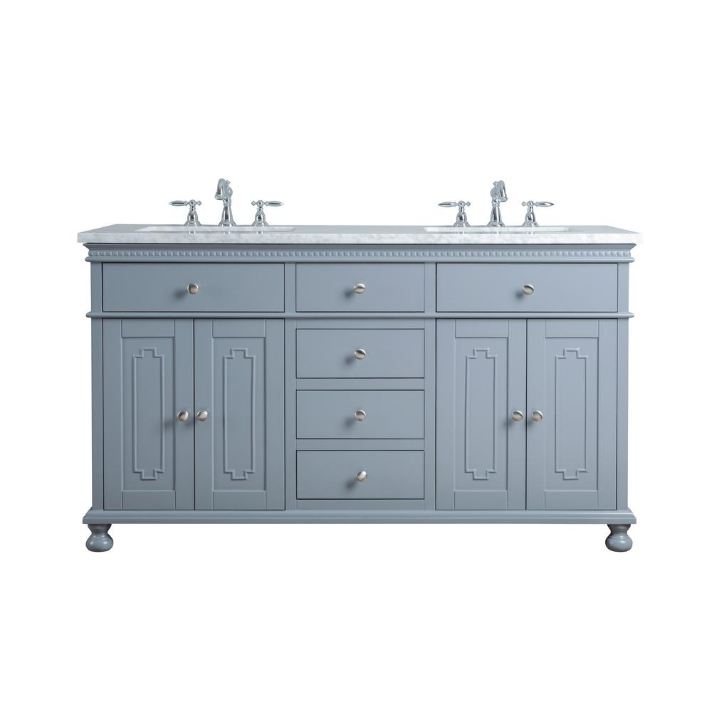 "Abigail Embellished 60"" Gray Double Sink Bathroom Vanity - Pot Racks Plus"
