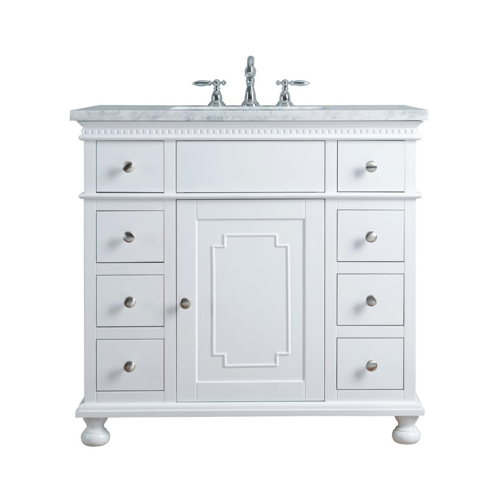"Abigail Embellished 36"" White Single Sink Bathroom Vanity - Pot Racks Plus"
