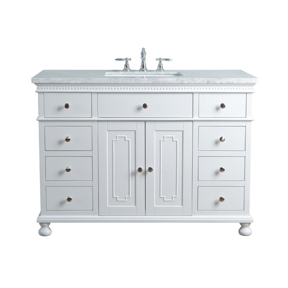 "Abigail Embellished 48"" White Single Sink Bathroom Vanity - Pot Racks Plus"