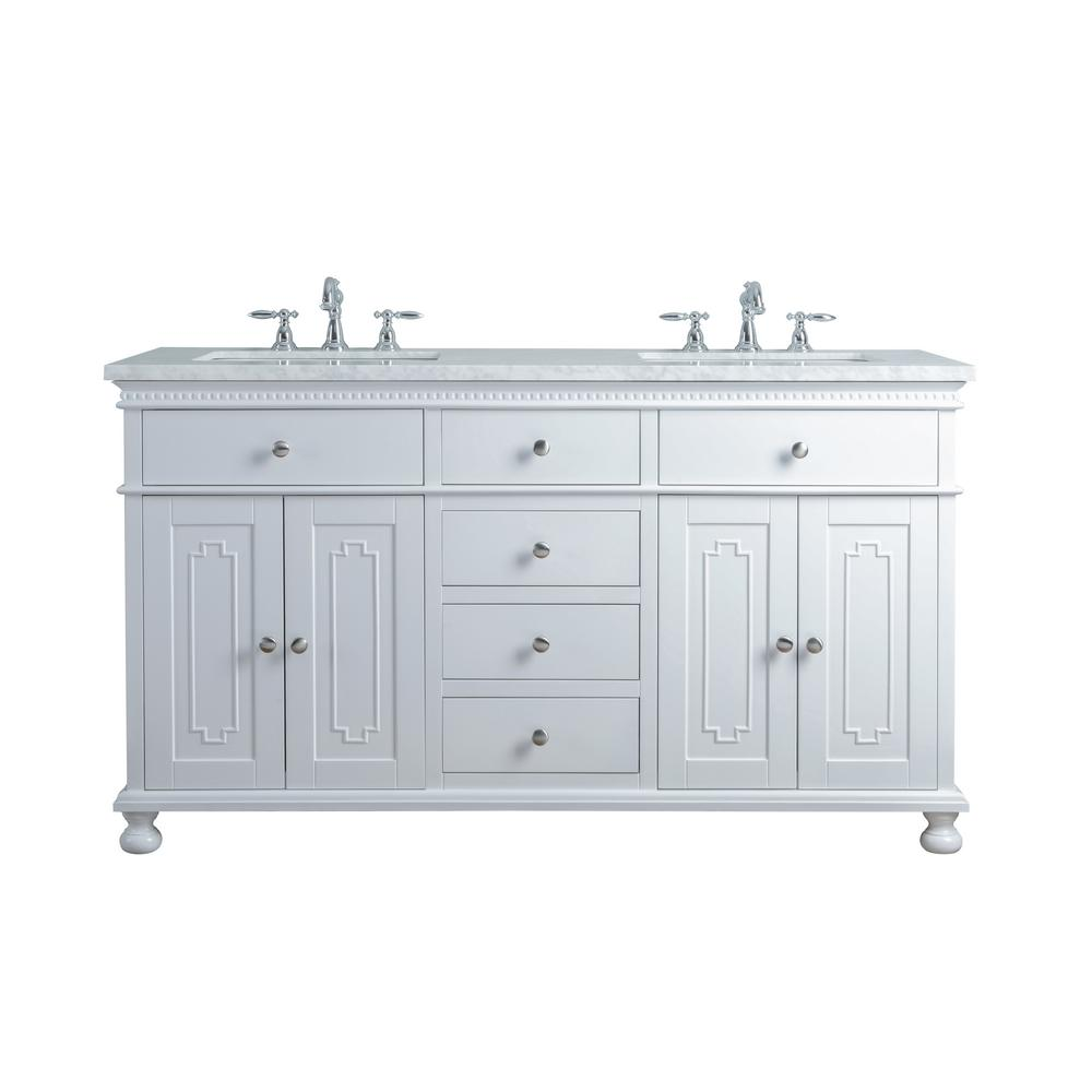 "Abigail Embellished 60"" White Double Sink Bathroom Vanity - Pot Racks Plus"