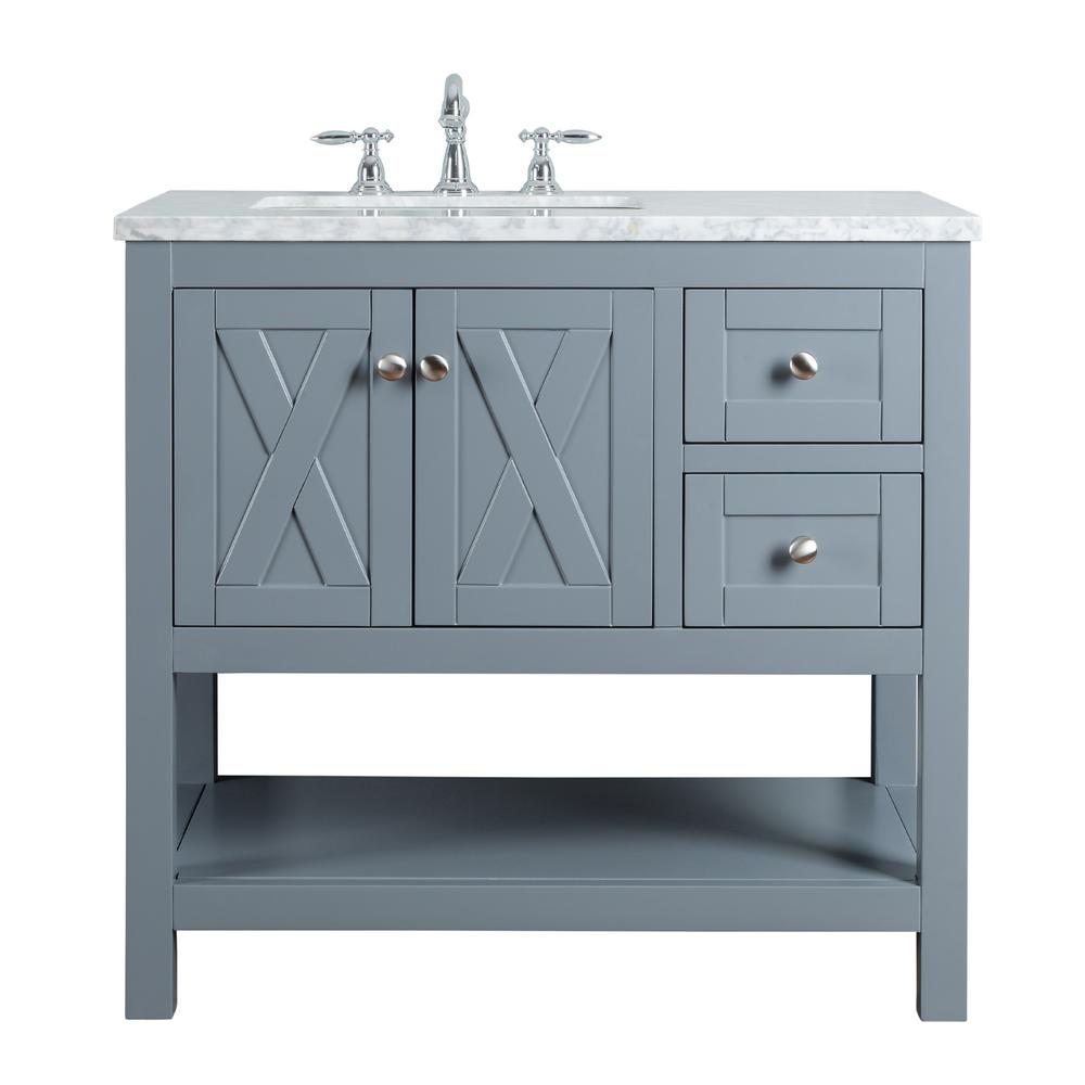 "Anabelle 36"" Gray Single Sink Bathroom Vanity - Pot Racks Plus"
