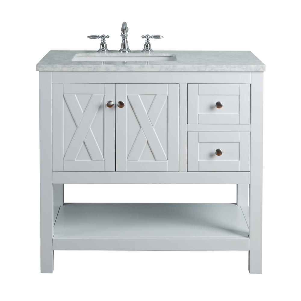 "Anabelle 36"" White Single Sink Bathroom Vanity - Pot Racks Plus"