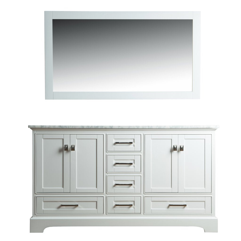 Newport White 72 inch Double Sink Bathroom Vanity with Mirror - Pot Racks Plus