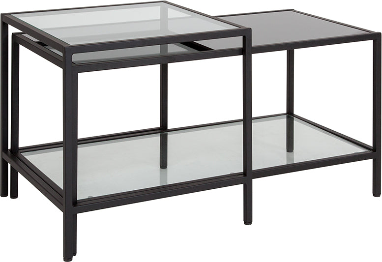 Flash Furniture Westerly Multi-Tiered Glass Coffee Table with Black Metal Frame - Pot Racks Plus