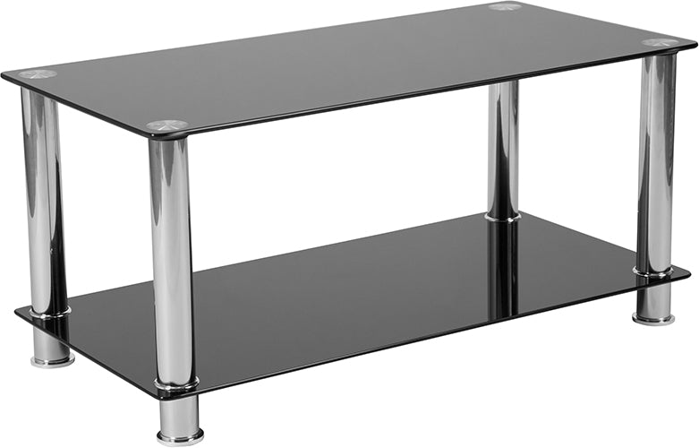 Flash Furniture Riverside Collection Black Glass Coffee Table with Shelves and Stainless Steel Frame - Pot Racks Plus