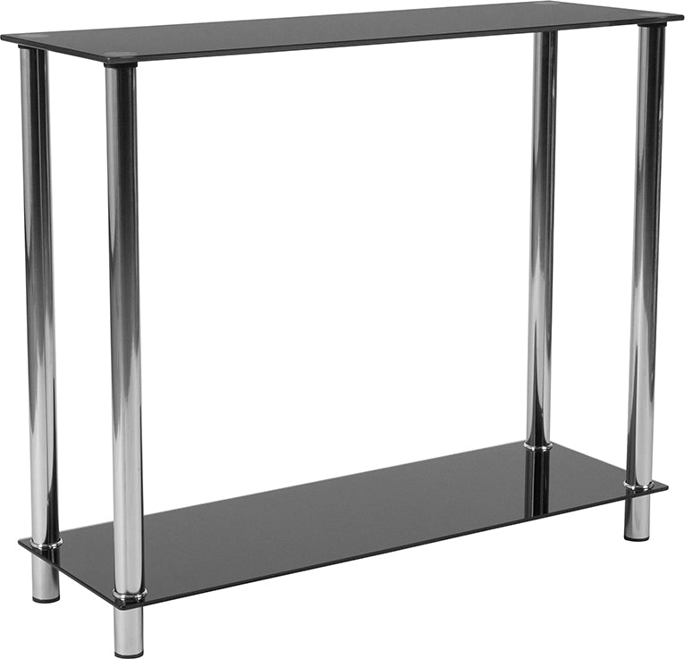 Flash Furniture Riverside Collection Black Glass Console Table with Shelves and Stainless Steel Frame - Pot Racks Plus