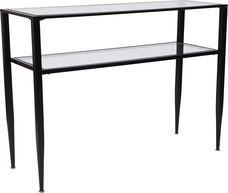 Flash Furniture Newport Collection Glass Console Table with Shelves and Black Metal Frame - Pot Racks Plus