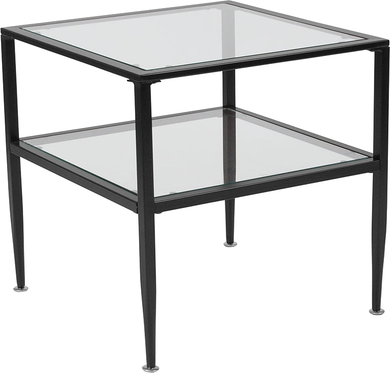 Flash Furniture Newport Collection Glass End Table with Black Metal Frame - Pot Racks Plus