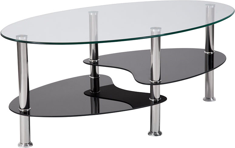 Flash Furniture Hampden Glass Coffee Table with Black Glass Shelves and Stainless Steel Legs - Pot Racks Plus