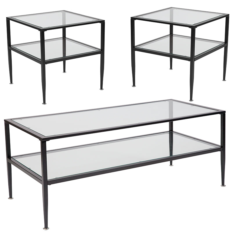 Flash Furniture Newport Collection 3 Piece Coffee and End Table Set with Glass Tops and Black Metal Frames - Pot Racks Plus