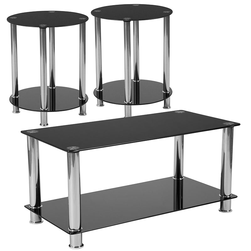 Flash Furniture Riverside Collection 3 Piece Coffee and End Table Set with Black Glass Tops and Stainless Steel Frames - Pot Racks Plus