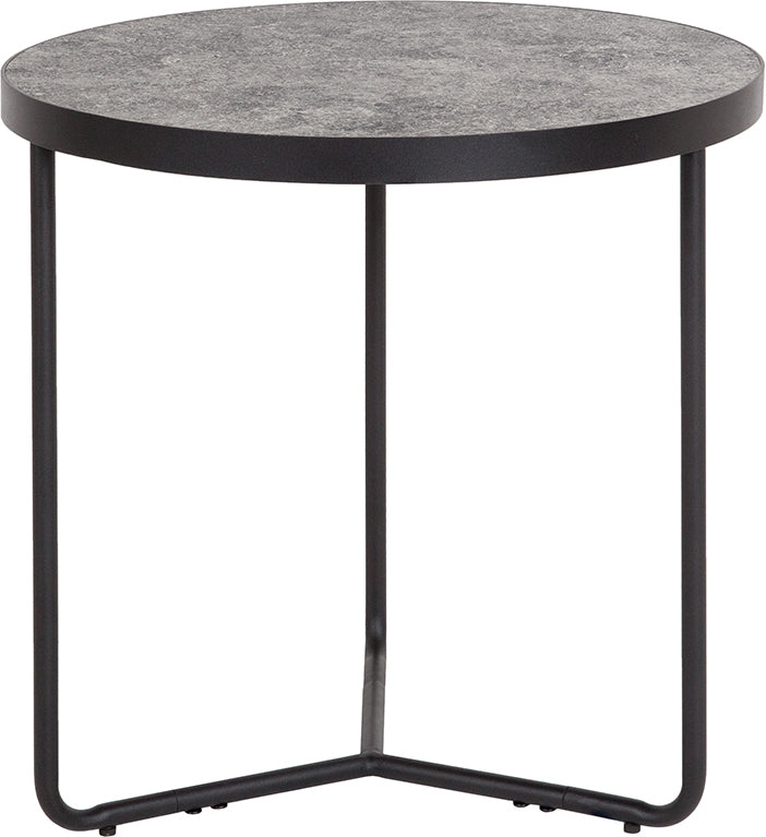 "Flash Furniture Providence Collection 19.5"" Round End Table in Concrete Finish - Pot Racks Plus"