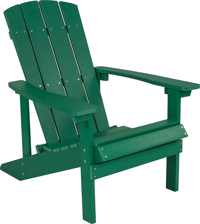 Flash Furniture Charlestown All-Weather Adirondack Chair in Green Faux Wood - Pot Racks Plus