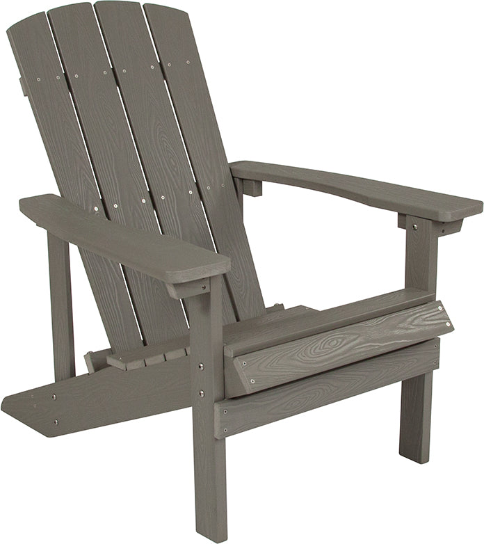 Flash Furniture Charlestown All-Weather Adirondack Chair in Light Gray Faux Wood - Pot Racks Plus