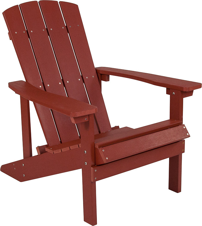 Flash Furniture Charlestown All-Weather Adirondack Chair in Red Faux Wood - Pot Racks Plus