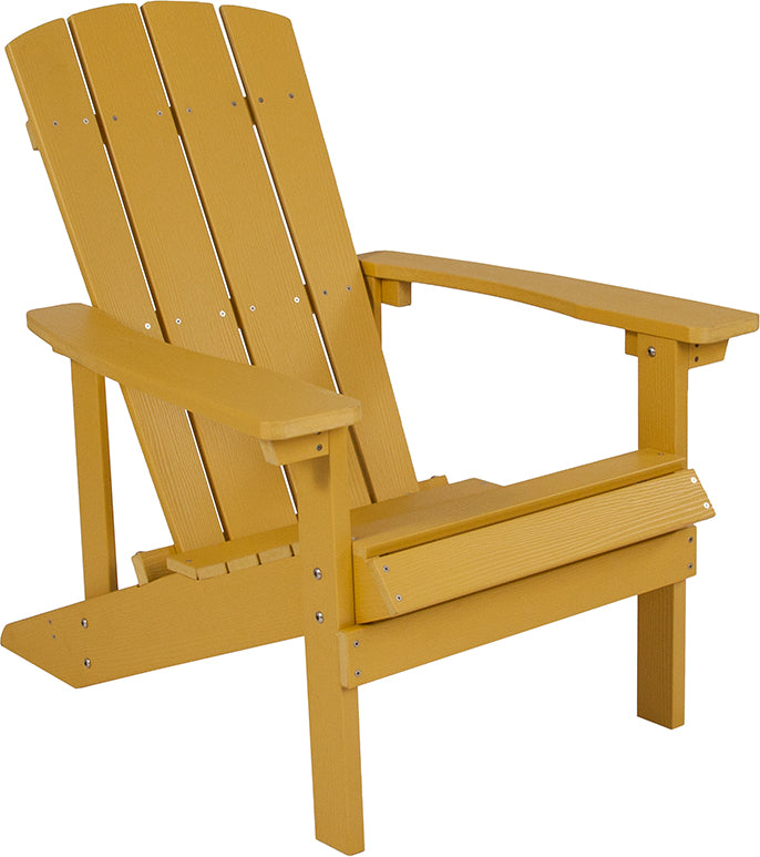 Flash Furniture Charlestown All-Weather Adirondack Chair in Yellow Faux Wood - Pot Racks Plus