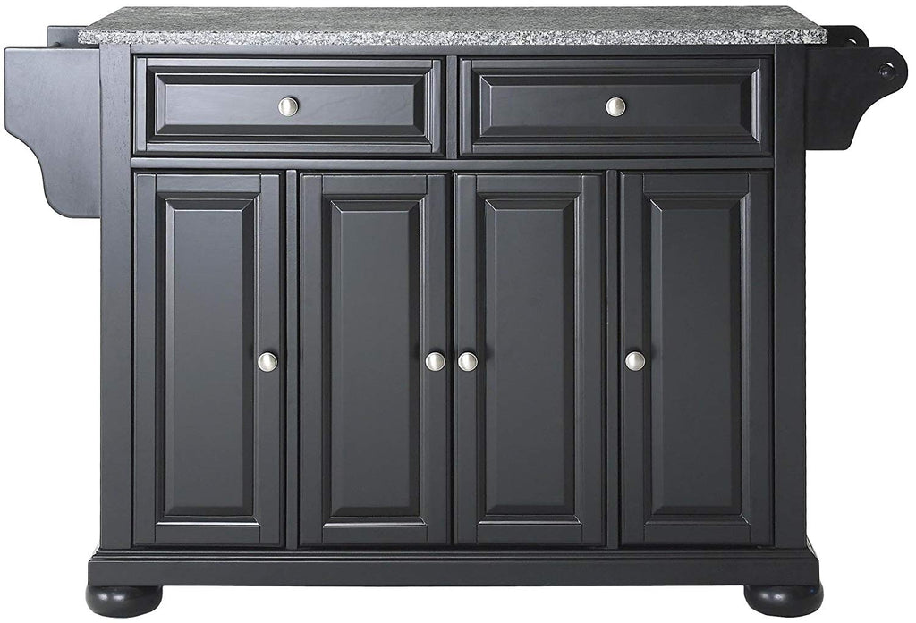 Alexandria Solid Granite Top Kitchen Island, Black Finish - Pot Racks Plus