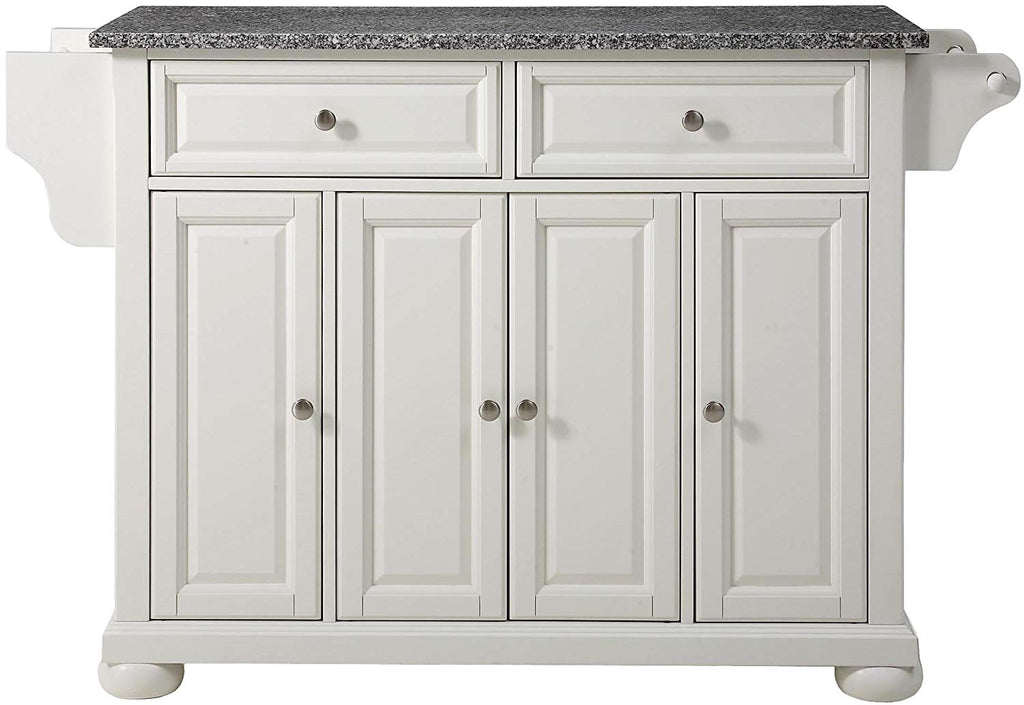 Alexandria Solid Granite Top Kitchen Island, White Finish - Pot Racks Plus