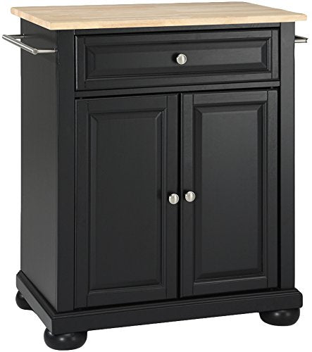 Alexandria Natural Wood Top Kitchen Island, Black Finish - Pot Racks Plus