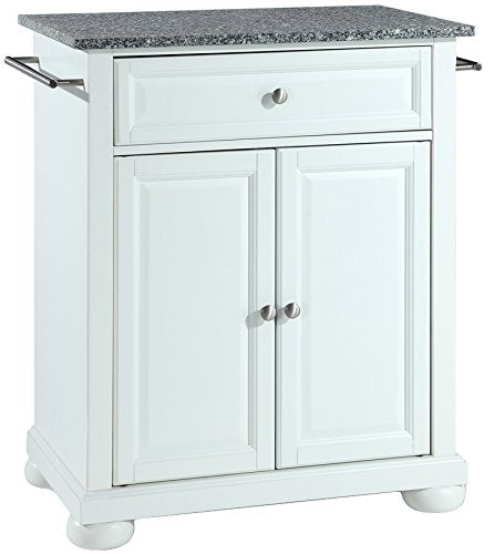 Alexandria Solid Granite Top Portable Kitchen Island, White Finish - Pot Racks Plus