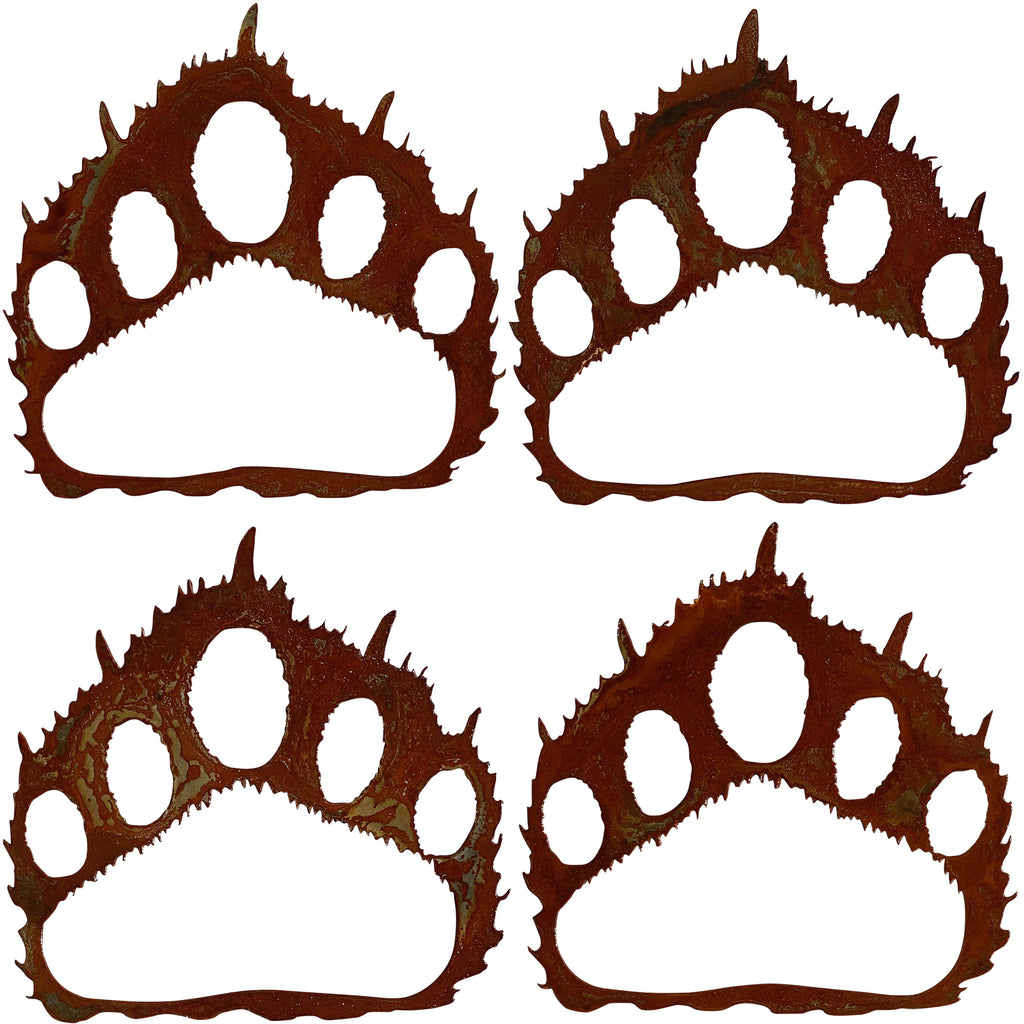 Bear Paw Prints (set of 4), Rust Patina - Pot Racks Plus