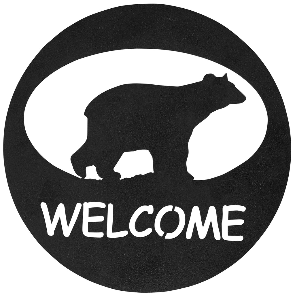 Bear Welcome Circle-Hammered Black - Pot Racks Plus