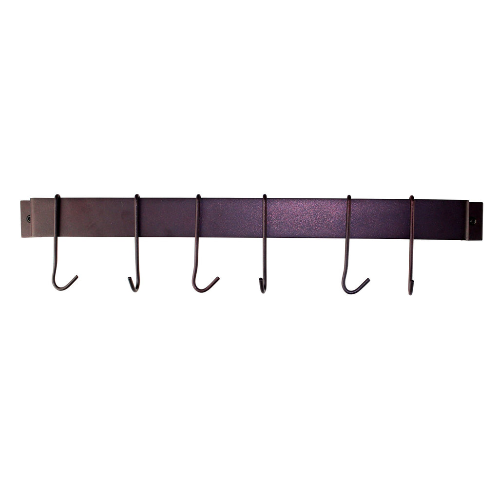 "Rack It Up 22"" Wall Rack Utensil Bar With 6 Hooks, Bordeaux - Pot Racks Plus"