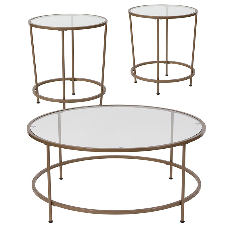 Flash Furniture Astoria Collection 3 Piece Coffee and End Table Set with Glass Tops and Matte Gold Frames - Pot Racks Plus